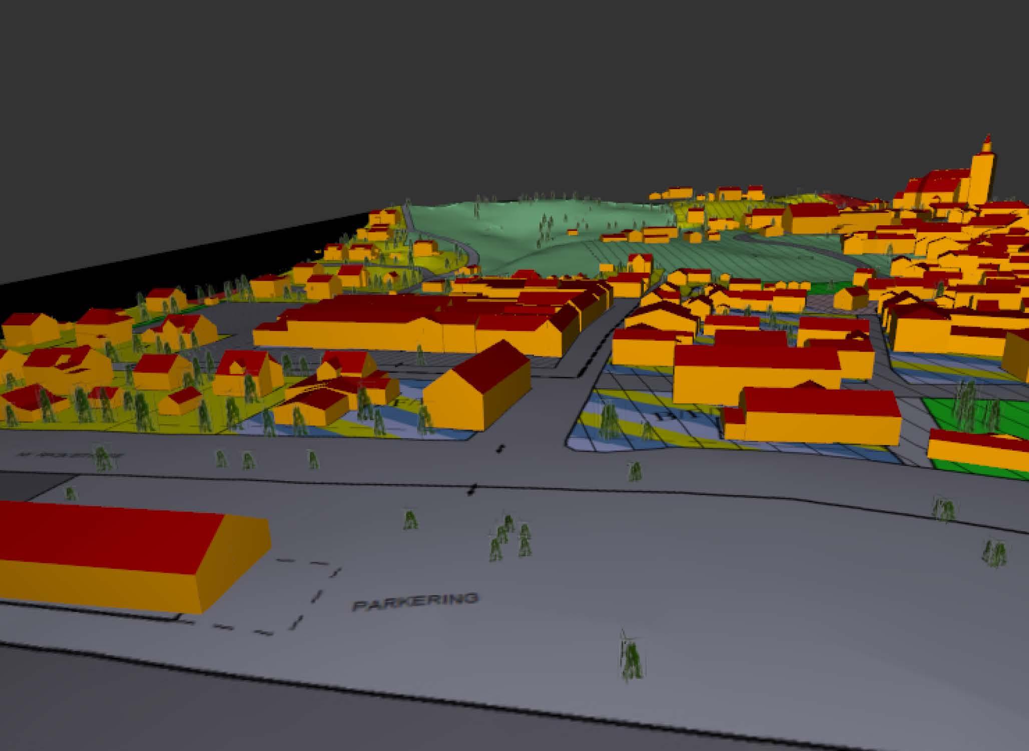 Bilde av terrengmodell over Røros sentrum