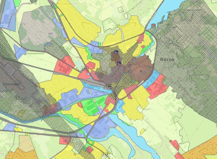 Bilde av kartutsnitt fra arealplan