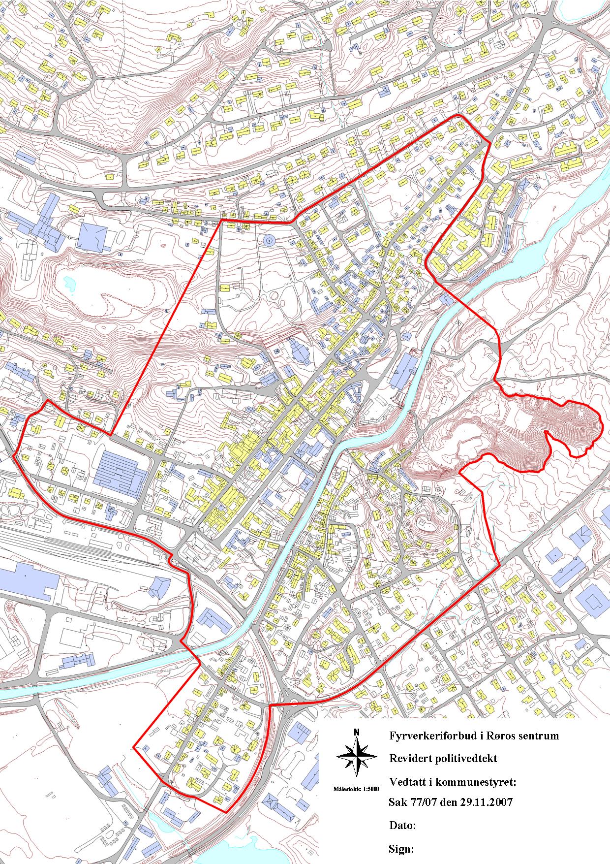 Kart over Røros sentrum som viser hvor det er forbudt å sende opp fyrverkeri.