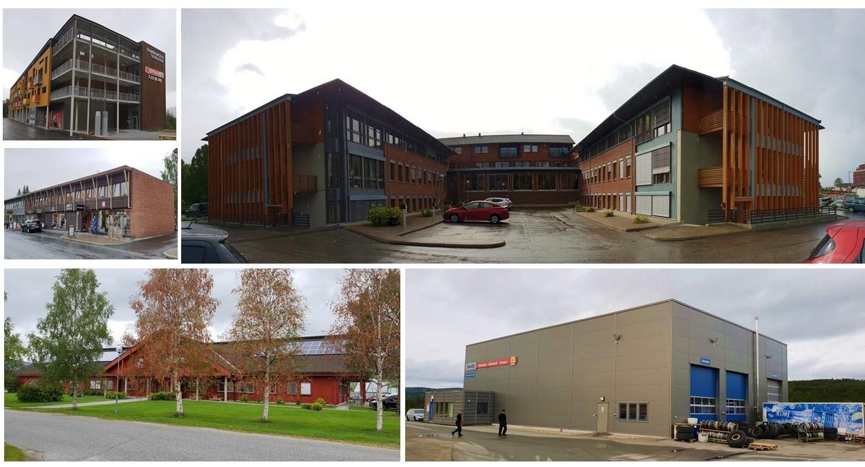 Bildekollage av noen eiendommer i Siva Fjellregion Eiendom AS