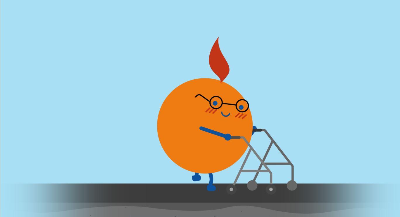 """Illustrasjon av en """"appelsingdame"""" med gårstol"""