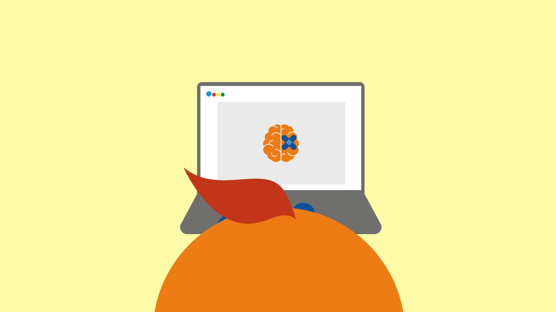 Kampanjebilde med en appelsin-mann sitter foran en pc med bilde av en hjerne