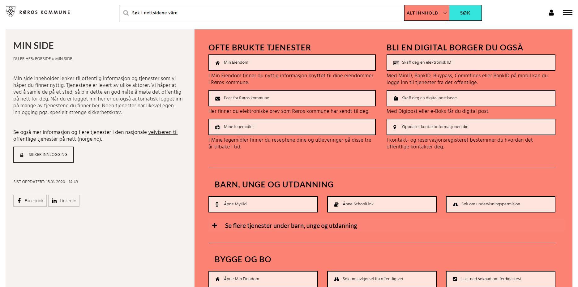 Bilde av forsiden til Røros kommunes hjemmeside
