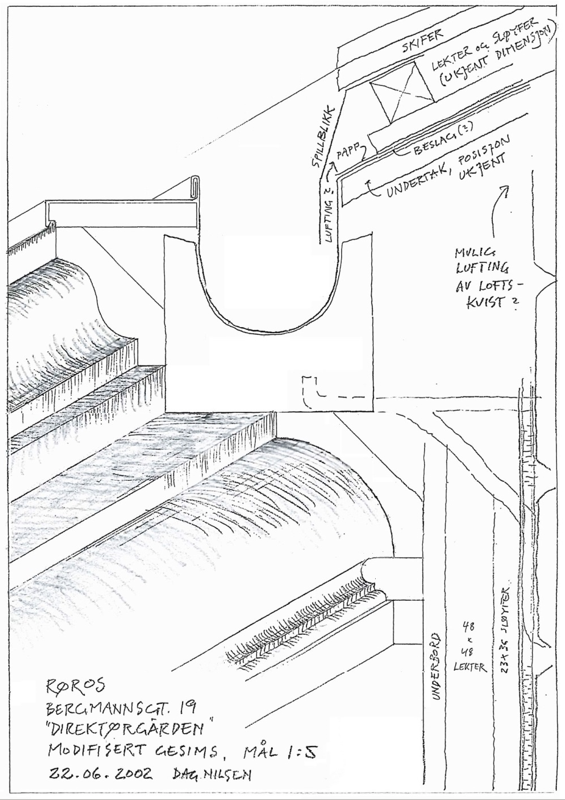 En rabdeidstegning av hvordan gesimsen til rådusveggen skal konstrueres