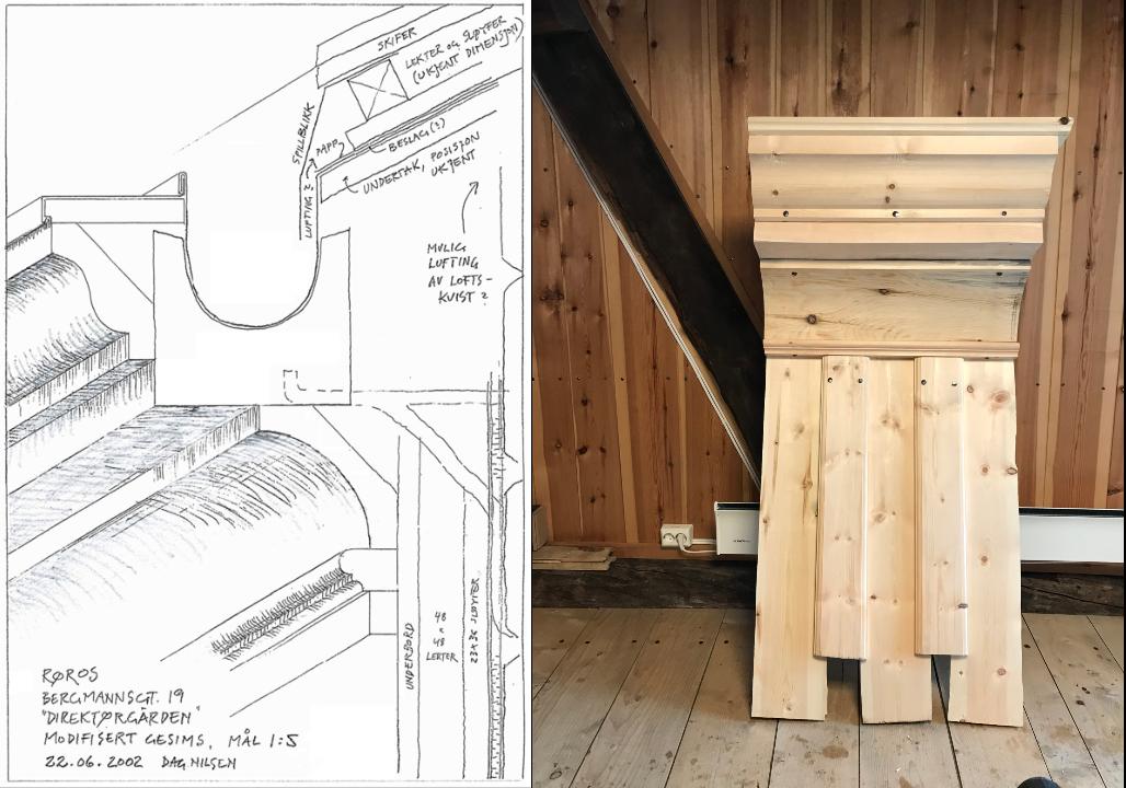 Tegningene av konstruksjonen til gesimsen, og bilde av modellen