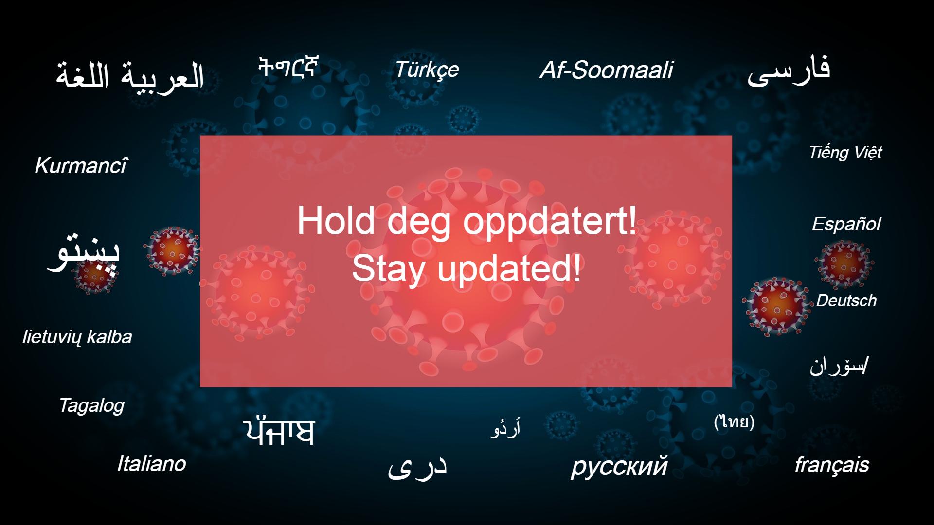 Hold deg oppdatert. Korona på flere språk