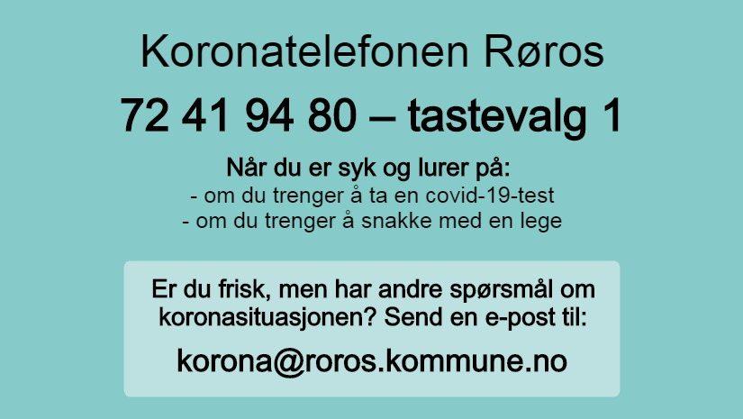 Koronatelefon i Røros – og ny e-postadresse for koronaspørsmål