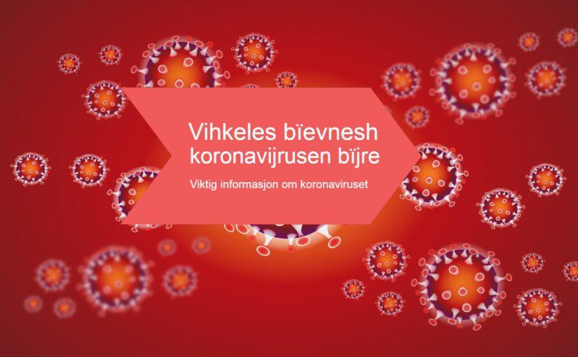 Vihkeles bïevnesh koronavijrusen bïjre / Informasjon om koronaviruset