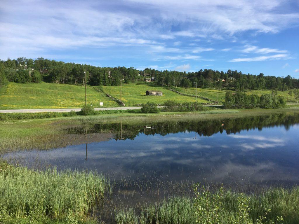 Bilde med innsjø i forgrunnen og en grønn ås med en laue, stengjerner og trær bak, over er himmelen blå