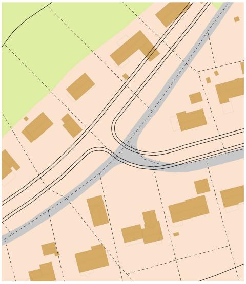 Illustrasjon av et kart for et boligområde med inntegnet veier, tomter og bebyggelse.