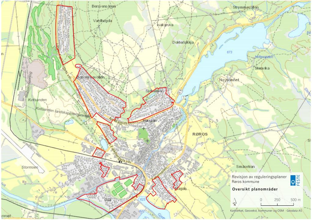 kartutsnitt av røros, der ni boligområder er markert med rød strek rundt.