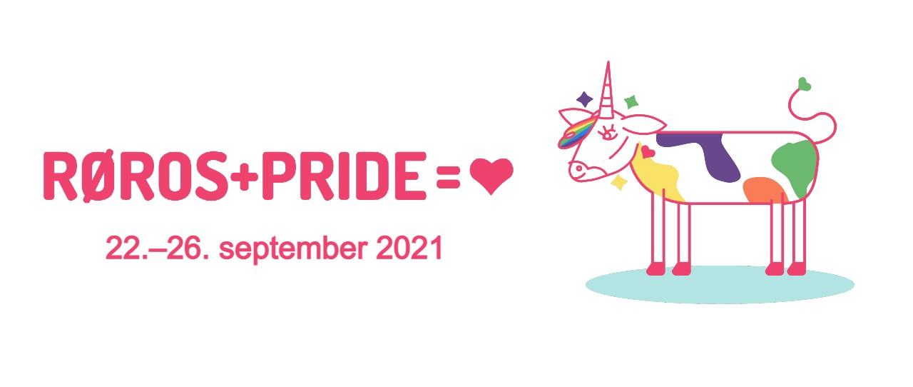logoen til Røros PRIDE, 22.-26. september 2021 og illustrasjon av rørosku med enhjørninghorn og fargeflekker på